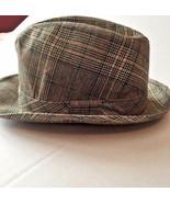 Hat Fedora Plaid Brown Green Band J C Penny Vintage Size 7 1/4 - 7 3/8 Men - $69.25