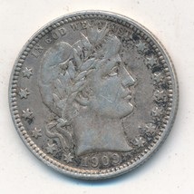 """1909-D BARBER SILVER QUARTER-VERY NICE GENTLY CIRCULATED-""""LIBERTY"""" FULL ... - $67.95"""