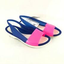 Crocs Womens Colorblock Flat Sandals Slip On Open Toe Rubber Blue Pink Size 5 - $29.02