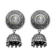 Rainbow Moonstone Vintage Oxidized Design 925 Silver Drop Earring - $39.81