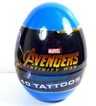 Plastic Egg with 40 Avengers Infinity War temporary tattoos NEW sealed - $3.95