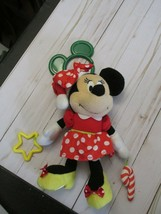 "E disney baby minnie mouse christmas plush rattle 10""  crinkle ears sant... - $17.81"