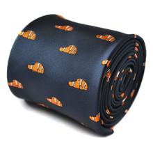 Marineblau Herren Krawatte & Orange Fisch Aufdruck Finding Nemo DVD Film ft1517