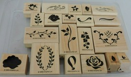 Stampin Up Two Step Hand Painted Petites 1999 Mounted Stamp Set 20 Edges... - $10.80