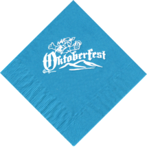 25 Turquoise Oktoberfest Beverage Paper Napkins with a  White Brewmeister logo - $8.90