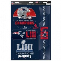 New England Patriots Super Bowl LIII CHAMPIONS 4-Pack Multi-Use Decals R... - $15.99