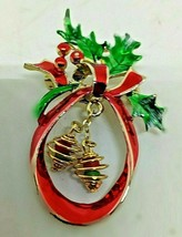 GOLDTONE RED AND GREEN ENAMEL CHRISTMAS PIN WITH HOLLY - $9.49