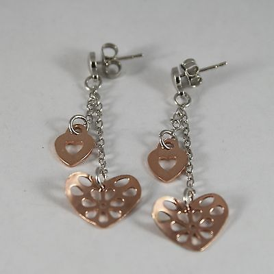 Drop Earrings in Silver 925 with Hearts Pink Gold Plated Pierced