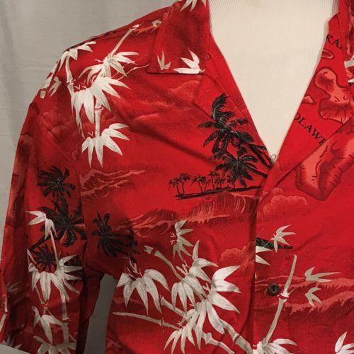 Ali'i Fashions Red Islands Palm Trees Cotton Short Sleeve Hawaiian Shirt XL