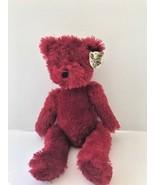 "Greenbrier International Cuddly Cousins 10"" maroon teddy bear pre-owned,... - $9.49"