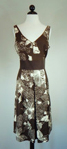 ANN TAYLOR NEW NWOT Brown Floral Silk Sleeveless Pleated Skirt Dress Siz... - $38.61