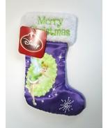 "Disney Purple Satin Tinkerbell Tinker Bell Small 9"" Merry Christmas Stoc... - $11.75"