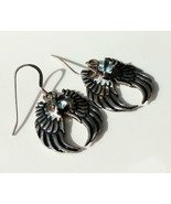 Angel wing earrings, genuine aquamarine hearts, fine silver 999 - £80.55 GBP