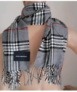 Mens John Ashford Scarf Grey Black Red Plaid with Fringe - $10.77