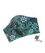 Floral Face Mask Blue Teal Pink Batik Cotton Adjustable Facemask Handmad... - $10.00