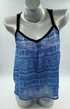 Forever 21 Tank Top Large Blue Black Sheer Geometric Sleeveless Blouse W... - $11.88