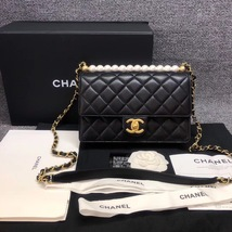 BNIB BRAND NEW AUTH CHANEL 19SS PEARL BLACK LAMBSKIN QUILTED FLAP BAG RECEIPT  image 2