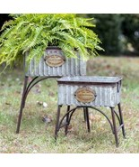 """Country SET OF TWO """"POLAND"""" TUBS With STANDS Farmhouse Rustic Primitive ... - $146.99"""