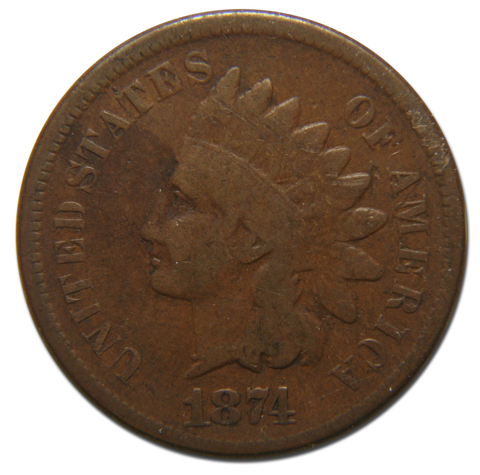 1874 Indian Head Penny / Cent Coin Lot# MZ 3591