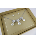 Charter Club Silver Crystal and Pearl Necklace with Earrings - New - $19.80