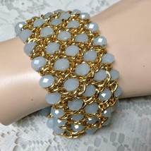 Elegant, Gold and Jade Green, Chunky 1.75in Thick , 8in Stretchable Brac... - $28.45