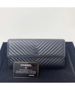 AUTH CHANEL SUPER TRARE SO BLACK QUILTED  CHEVRON FLAP TRI-FOLD CLUTCH W... - $1,299.99
