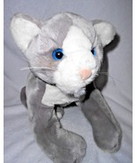 "Animal Alley Cat Kitten Grey White Floppy Plush Stuffed Animal 15"" Blue ... - $29.68"