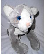 "Animal Alley Cat Kitten Grey White Floppy Plush Stuffed Animal 15"" Blue ... - $29.68"