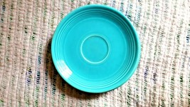 4 VINTAGE HOMER LAUGHLIN FIESTAWARE TURQUOISE BLUE SAUCERS: MAKERS MARK ... - $15.00