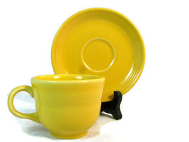 Homer Laughlin Fiesta Cup & Saucer Set Yellow Sunflower 6 Oz  - $18.80