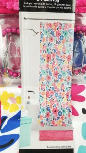 14 Pc. Bath Set Hooks & Shower Curtain Mainstays Floral White Blue Pink Rug New