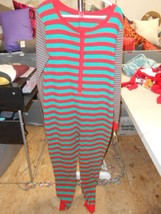 Unisex One Piece Adult Pajamas, Red/Green Strip... - $25.99