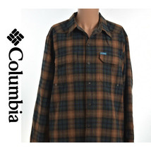 Columbia Mens Fleece Lining Plaid Striped Checked L/S Button Front Shirt 18.5 37 - $34.95