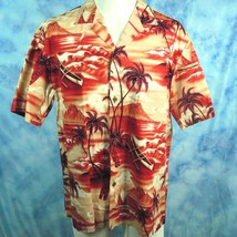 Royal Creations Mens L Hawaiian Aloha Shirt Red Tiki Diamond Head Outrig... - $24.70