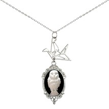 Paper Crane Necklace Origami Cameo Pendant 2 Chains Gift Jewelry (Great ... - $27.88