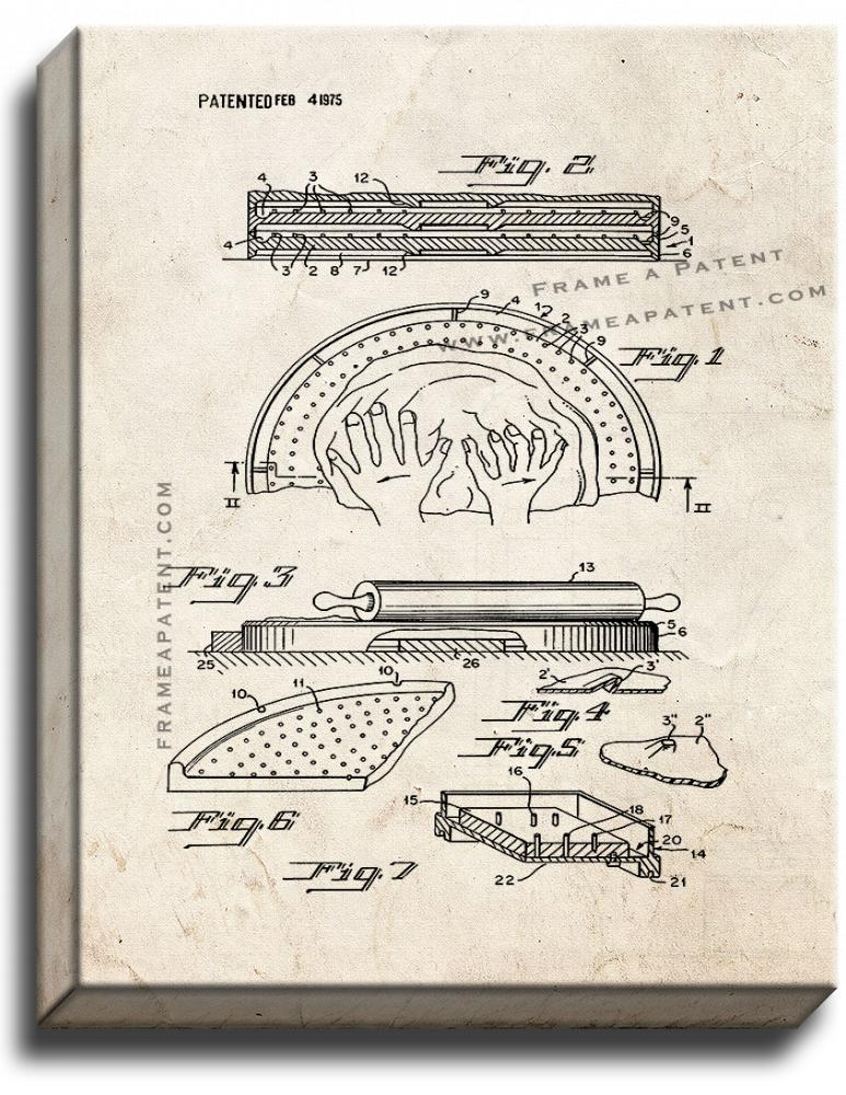 Pizza Pie Making Apparatus Patent Print Old Look on Canvas - $39.95 - $159.95