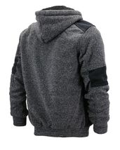 Men's Two Tone Warm Soft Sherpa Lined Moto Quilted Zipper Fleece Hoodie Jacket image 5