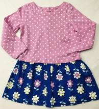 Gymboree Retired Dress Sz 3T Polka Dots Flowers Blue Pink White L/S EUC - $22.51