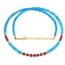 Ruby, Turquoise & Neon Apatite Beaded Necklace with Gold Plated 925 Silv... - $79.99