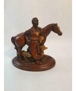 Vintage Cowboy with Horse and Dog Figurine Resin Rustic New Zealand Signed - $50.48