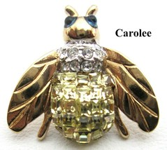 CAROLEE Channel Set Rhinestone Bee Bug Tac Pin - $27.95