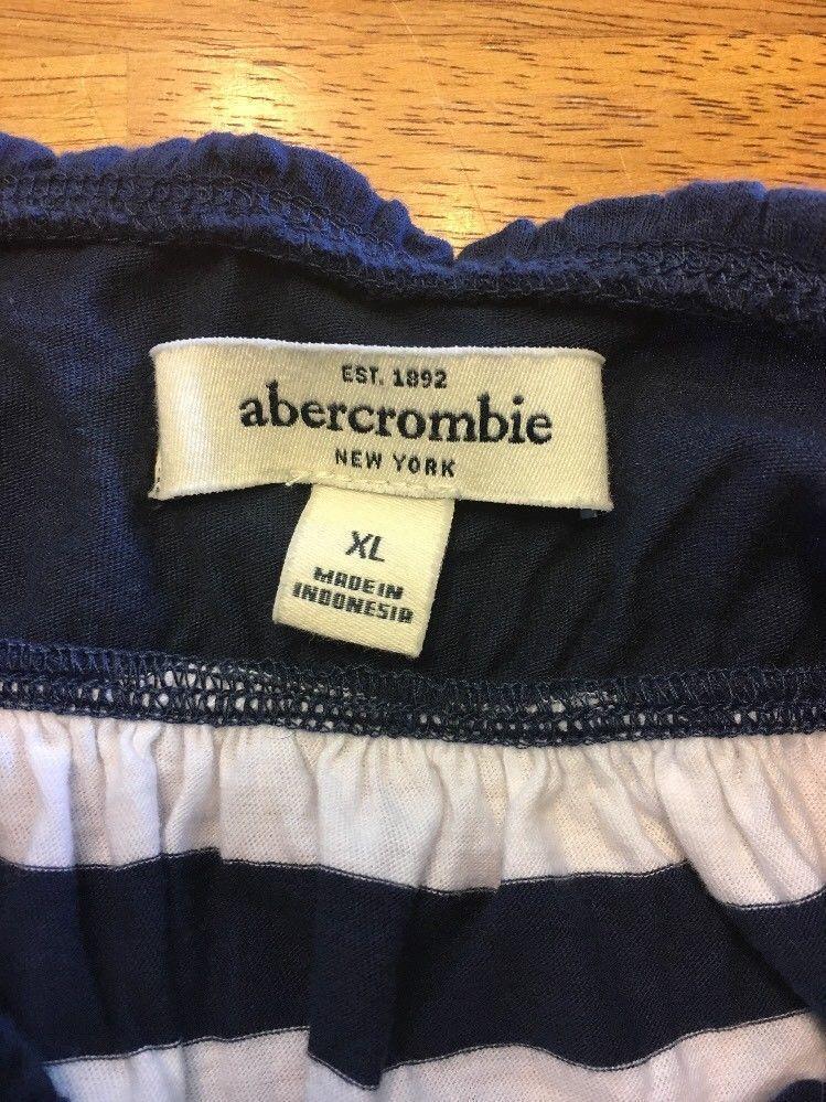 Abercrombie New York Blue & White Striped Girls Tube Top Shirt - Size: XL image 9