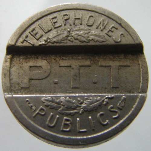 FRANCE TELEPHONE TOKEN Vintage over 75 years old 1937 Public Telephone Copper Ni