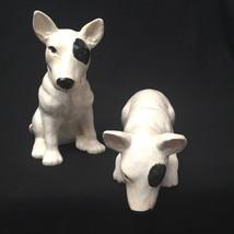 Vintage Pair Of Bull Terriers Sitting Peeking Ceramic Handpainted Dogs F... - $57.42
