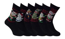 6 Pares of Calcetín Hombre Navidad Negro Talla 6-11 Gb 39-45 Eur XM40 - $11.86