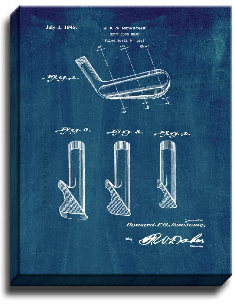 Primary image for Golf Club Head Patent Print Midnight Blue on Canvas