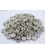 100 Czech Crystal Rhinestone Pewter Rondelle Spacer Beads 4mm 5mm 6mm 8m... - $3.65+