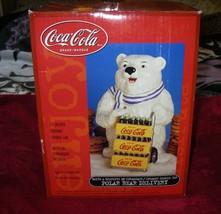 "NIB Coca Cola brand ceramic 13"" delivery polar bear cookie jar COKE 2000... - $44.99"