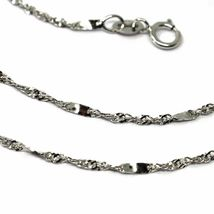 18K WHITE GOLD CHAIN, 1.5 MM SINGAPORE ROPE SPIRAL ALTERNATE LINK, 17.7 INCHES image 3