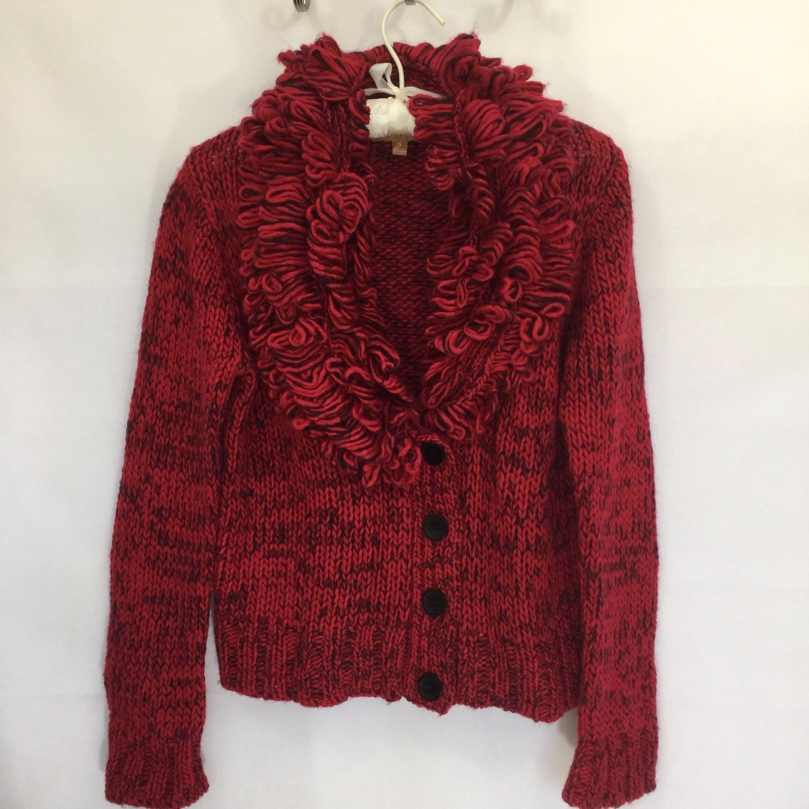 Primary image for Ellen Tracy Women S Wool Blend Sweater Cardigan Fringe Collar Chunky Knit Button